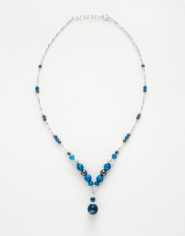 Collier Calliope Agate bleue