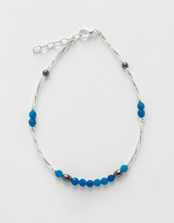 Bracelet de cheville Calliope Thalia Agate bleue