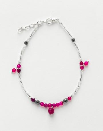 Bracelet de cheville Calliope Thalia Agate fuchsia