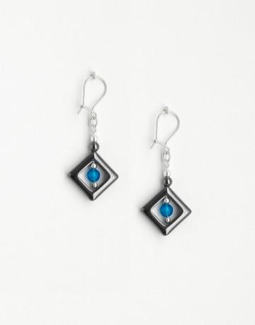 Boucles d'oreilles Euterpe Agate bleue