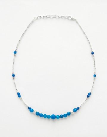 Collier Thalia Agate bleue